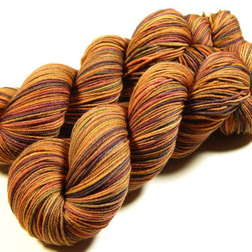 Hand Dyed Yarn - Sock Weight 4 Ply Superwash Merino Wool Yarn - Nutmeg Multi - Knitting Yarn, Sock Yarn, Wool Yarn, Fingering, Earthtones