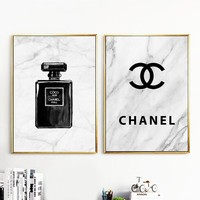 Marbling Perfume Quote Wall Art Canvas Painting Nordic Posters And Prints Black White Wall Pictures For Living Room Wall Decor