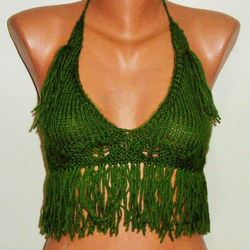 Green Festival Top with Fringe Halter Top Women Festival Clothing summer fashion