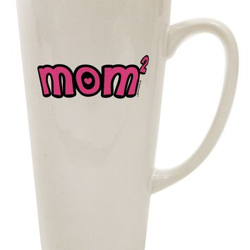 Mom Squared - Cute Mom of Two Design 16 Ounce Conical Latte Coffee Mug by TooLoud