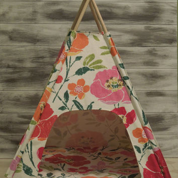 SALE Vintage Kandy Tenthouse Suites -  A Posh House for Dog, Doll,Cat - repurposed pottery barn kids floral - pink, geen, red, orange, cream