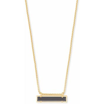 Kendra Scott: Leanor Gold Pendant Necklace In Black Opaque Glass
