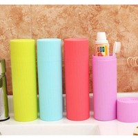 1 Pcs 20*5.5cm 4 colors Bathroom Products,Simple Travel Tooth Brush Holder Cup Wash Gargle Suit Bathroom Accessories.