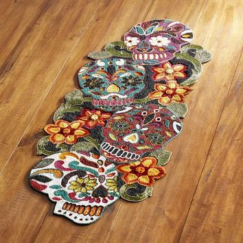 Dia de los Muertos Beaded Table Runner