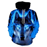 2019 New Space Galaxy Wolf Hoodie Hoodies Men Women  Fashion Spring Autumn Pullover Sweatshirts Sweat Homme 3D Tracksuit S-6XL