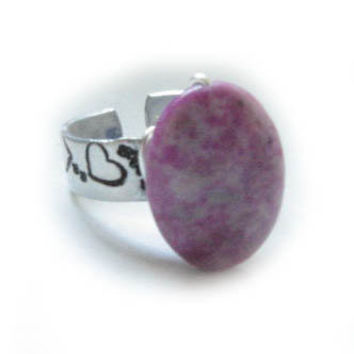 Argentinian Rhodonite Wire Wrapped Hand Stamped Ring by JSCJewelry