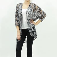 Floral lace sheer black cardigan