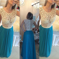 Lace and Chiffon Prom Dress with Pearls pst0535