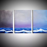 """ARTFINDER: impasto on canvas painting seascape landscape painting large wall art original seascape abstract """"Stormfront"""" painting art canvas colour paint blue red white impasto - 27 x 12  inches by Stuart Wright - landscape painting textured impasto artwor"""
