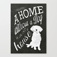 Home with Dog Stretched Canvas by Roboz