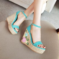 Flower Embroidery Platform Woman Shoes Fashion Wedge High Heels Party Wedding Sandals Women