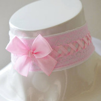 Kitten play collar - Princess bubblegum - ddlg princess fairy kei pastel kawaii cute lolita neko girl - white and pink lace choker with bow