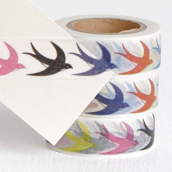 Barn Swallow Washi Tape, Diving Swallow Bird Sailor Nautical Theme Colorful Paper Tape 15mm