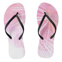 Abstract Pink Palm Tree Leaves Design Flip Flops