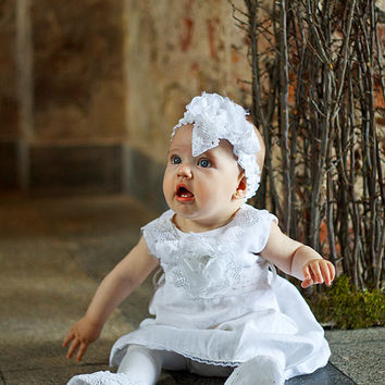 Girls Dress,Flower Girl Dresses, Linen dress,Christening Gown, Baptism Gown, Christening Dress, Linen Christening Gown, Girls