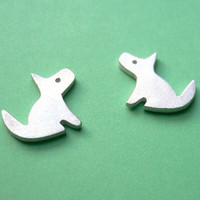Dog Stud Earrings  Puppy Silver Jewelry  Kawaii by StudioRhino