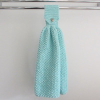 Hanging kitchen towel, knitted hand towel, tea towel, beach decor, aqua blue, seashell button