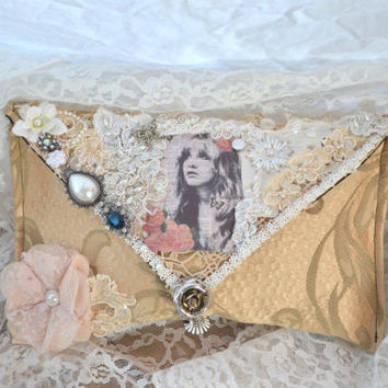 Gypsy purse, boho envelope clutch, bohemian, Stevie Nicks Gypsy picture clutch, cottage, embellished handbag, shabby, true rebel clothing,