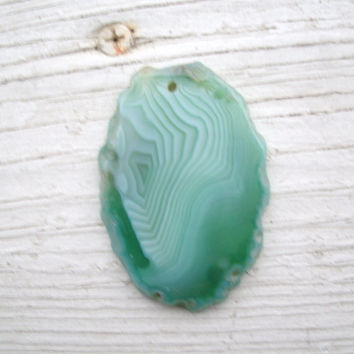 Agate Pendant Bead - beautiful Spring green!  freeform and flat, polished and drilled, jewelry supply, OOAK rocks, agates, pendant supply