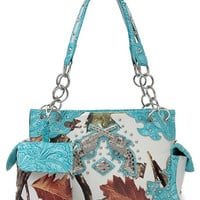 Western Cowgirl Fall Leaves And Gun Accented Two Side Pocket Satchel Bag In Turquoise