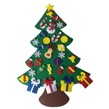 Felt Christmas Tree DIY Christmas Tree with Ornaments Wall Decor with Hanging Rope for Kids Xmas Gifts Home Door Decoration