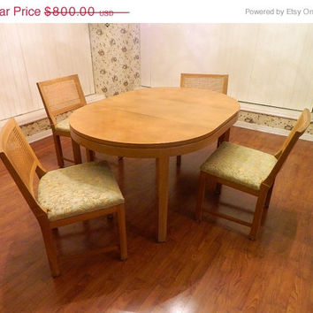 Thanksgiving Sale PRICE REDUCED,1950's Blond Oak Table and 4 Cane Back Chairs, 3 leaves, Danish Modern,  Excellent  Condition, Mid-Century,