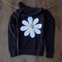 Sequin Daisy Sweatshirt -  Charcoal Grey Zip Up Hoodie Long Sleeve Hooded Women's Top Boho Sequin Patch
