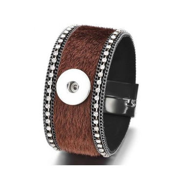 Brown Fur Magnetic Cuff Snap Bracelet 18mm-20mm