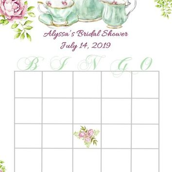 10 Tea Party Baby or Bridal Shower Bingo Cards