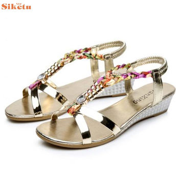 High quality Summer Rhinestone Women Flat Sandals for Women Fashion Casual Sandals Comfortable Beach Shoes