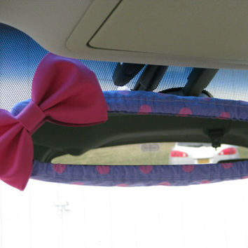 Glitter Princess Pink Polka Dot Rearview Mirror Cover Bow, Custom Pink Purple Polka Dot Rear View Mirror Cover with Pink Bow BF11268