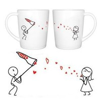 """BOLDLOFT® """"Catch My Love"""" His and Hers Matching Couple Coffee Mugs-Cute Couples Gifts,Christmas Gifts for Him,Valentines Day Gifts for Boyfriend,Romantic Anniversary Gifts"""