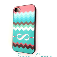 Plastic Case Mint Pink Infinity Case for  iPhone 4 and 4S  Ships from USA