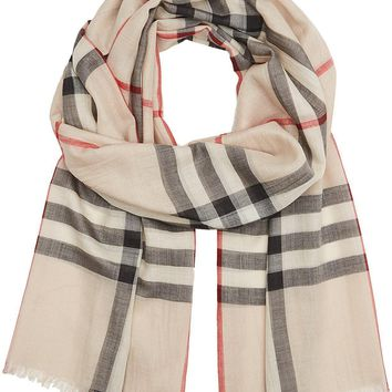 Burberry Check Wool Silk Gauze Scarf - Stone Check
