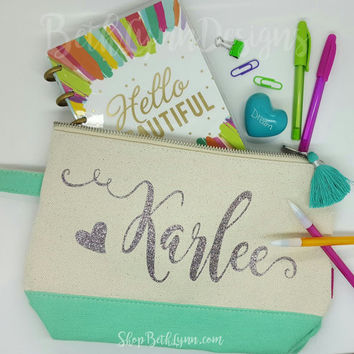 Name Customization Cosmetic or Planner Bag with GLITTER!