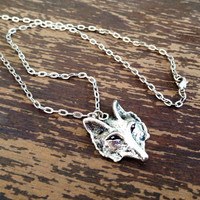 Wolf Necklace - Silver Plated - Wolf Pendant - Hipster - Boho - Tribal - Native American