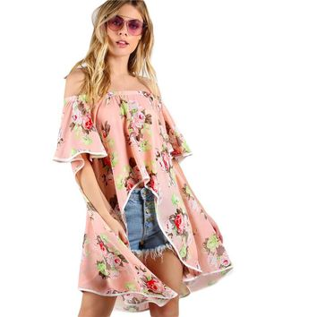 Floral Print Cape Sleeve High Low Bardot Top Off the Shoulder Women Tops Summer