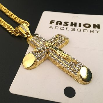 Boys & Men Fashion Hip Hop Jesus Cross Necklace
