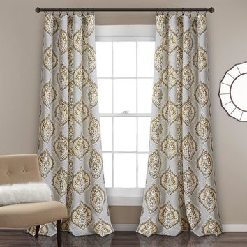 Grey Belle Boheme Room Darkening Window Curtains