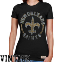 Mitchell & Ness New Orleans Saints Ladies Vintage Graphic Premium T-Shirt - Black