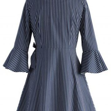 City Muse Wrapped Shirt Dress in Stripes - Dress - Retro, Indie and Unique Fashion