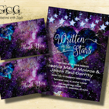 Galaxy wedding invitation suite Galaxy themed wedding Galaxy invitations Space wedding invitation suite Space invitations Nerd Wedding