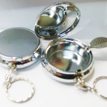 10PCS  Portable Ashtray Stainless steel Pill box  Silver DIY Metal container with keychain --one compartment- Free Shipping