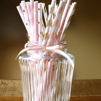 Twinkle Little Star Paper Straws, Set of 25, Gold and Pink First Birthday, Twinkle Star Birthday, Pink and Gold Birthday, First Birthday