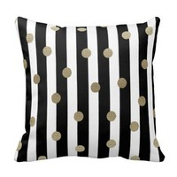 Black, White & Gold Dot & Stripe Throw Pillows
