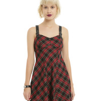 Red Plaid Buckle Strap Dress
