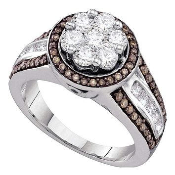 10kt White Gold Women's Round Brown Color Enhanced Diamond Flower Cluster Ring 1-3/8 Cttw - FREE Shipping (USA/CAN)
