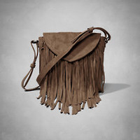 Faux Suede Fringe Crossbody Bag