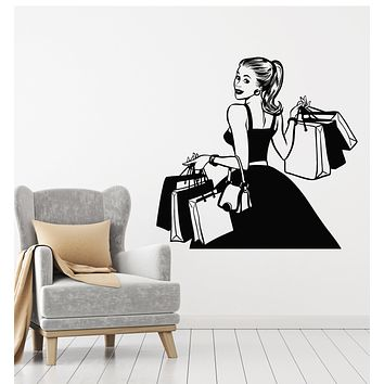 Vinyl Wall Decal Shopping Fashion Style Shopaholic Girl Dress Store Stickers Mural (g666)