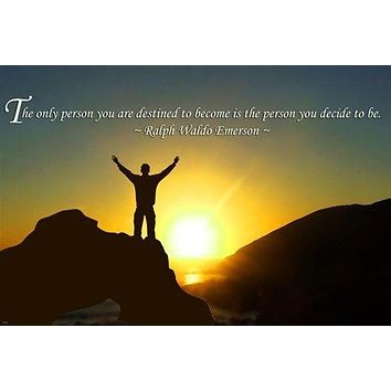 RALPH WALDO EMERSON motivational quote POSTER 24X36 MOUNTAIN TOP victory
